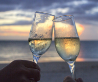 Romantic sunset with wine