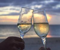 Romantic sunset with wine