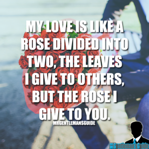 My love is like a rose divided into two, the leaves I give to others, but the rose I give to you.
